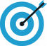 Bersaglio per il tiro a segno con cerchi concentrici blu e bianchi e una freccia conficcata al centro