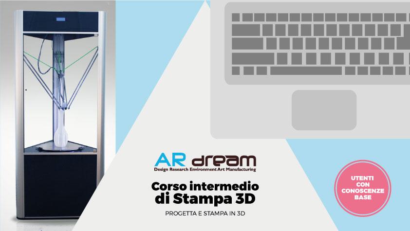 Grafica promozionale per il corso intermedio sulla progettazione e la stampa 3D indetto da AR dream