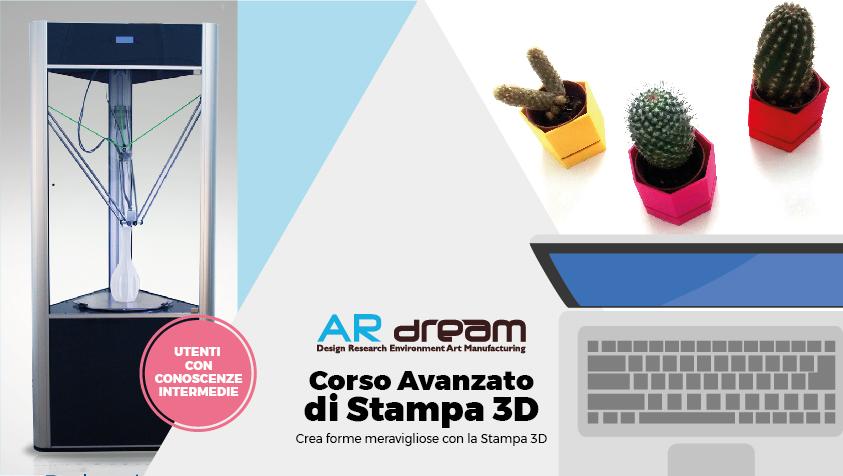 Grafica di anteprima per il Coso avanzato di Stampa 3D organizzato da ARDream s.r.l.s.